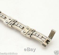 62gr Mens 8.5 Solid Designer Natural Diamond Screw Bracelet Real 14K White Gold
