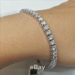 6.55 Ct Diamond Tennis Bracelet 7 One Row Natural Round Diamonds 14K White Gold