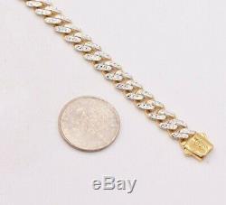 6mm Miami Cuban Diamond Cut Royal Box Clasp Bracelet Real 10K Yellow White Gold