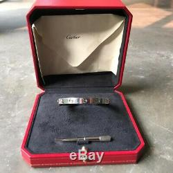 $7300 CARTIER 18k White Gold Love Bracelet Size 17