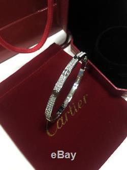 750-18K-White-Gold-fully-diamonds-Cartier-Love-Bracelet-Women-Bangle-Size-17