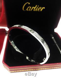 750-18K-White-Gold-fully-diamonds-Cartier-Love-Bracelet-Women-Bangle-Size-17-5mm