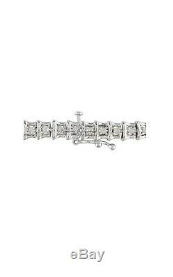 7.00 CT Round Cut D/VVS1 Diamond Tennis Bracelet 14k White Gold Over 7.50