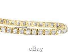 7.20 Ct Round Cut Diamond 14K Yellow Gold Over Tennis Bracelet 7.50