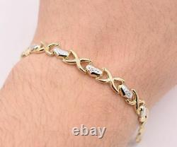 7.25 Diamond Cut Heart & Kisses Bracelet Real Solid 10K Yellow White Gold