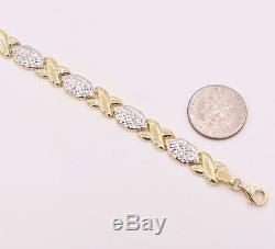 7.25 Diamond Cut Hugs and Kisses Stampato Bracelet Real 10K Yellow White Gold