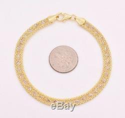 7.25 Diamond Cut Twisted Singapore Popcorn Bracelet Real 10K Yellow White Gold