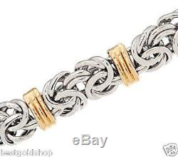 7.25 Domed Status Byzantine Bracelet Real 14K Yellow White Gold QVC J287941