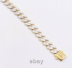 7.5mm Miami Cuban Diamond Cut Reversible Bracelet Real 10K Yellow White Gold