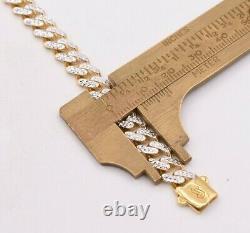 7.5mm Miami Cuban Diamond Cut Royal Bracelet Real 10K Yellow White Gold