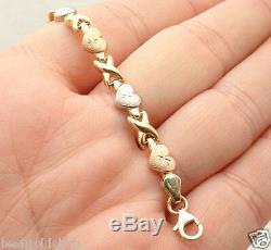 7 Hearts & Kisses Bracelet 10K Yellow White Rose TriColor Gold Clad Silver 925