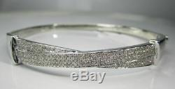 85 Carat Genuine Diamonds Womens Ladies White Gold Finish Pave Bracelet Bangle