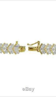8.00 Ct Round-Cut VVS1 Diamond Tennis Bracelet 7.50 14K Yellow Gold Over