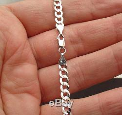 8 4.7mm Mens Solid Curb Miami Cuban Link Bracelet Real 14K White Gold