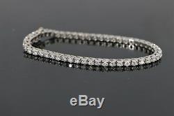 $8,500 14K White Gold 3.75ct HSI-I Round Diamond Tennis Chain Bracelet 6.75