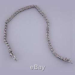 8ct Round Brilliant Cut Diamond Tennis Line Bracelet 14k Solid White Gold 7 1/2