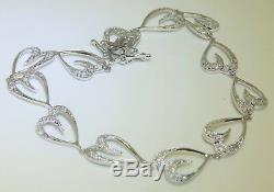 9CT 9 CARAT WHITE GOLD 0.25CT DIAMOND HEART DESIGN BRACELET 5.4g