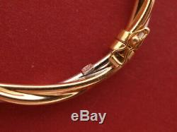 9ct yellow white gold twisted bangle bracelet hinged 7.10 grams