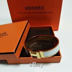 AUTHENTIC HERMES 18K Gold Enamel Bracelet Classic Clic Clac H Bangle White PM
