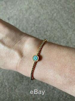 Aaron Basha 18ct Yellow Gold Ball Cuff Bracelet With Blue Evil Eye & Diamond