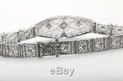 Antique 1920s Platinum 14k White Gold Blue Sapphire Diamond Filigree Bracelet