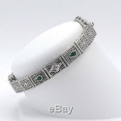 Art Deco 14k White Gold Emerald Diamond Filigree Bracelet 6.5