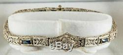 Art Deco Filigree 14k White Gold Diamond & Sapphire Bracelet