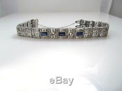 Art Deco Platinum Top 14k White Gold Filigree Line Bracelet Needs Stones Antique