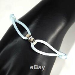 Auth Cartier Love Charity Bracelet 750(18K) White Gold / Blue Cord