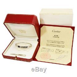 Authentic Cartier 18K White Gold Love Bangle Bracelet 17 withcert G1027
