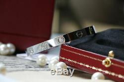 Authentic Cartier 18k White Gold 4 Diamonds Love Bracelet Size 18