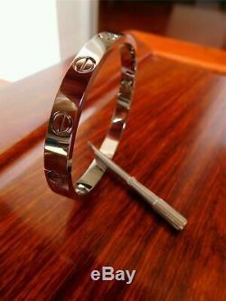 Authentic Cartier Love Bangle Bracelet 18k white Gold size 18