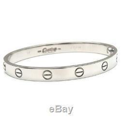 Authentic Cartier Love Bracelet Bangle 18K Size #17 White Gold K18WG Used F/S
