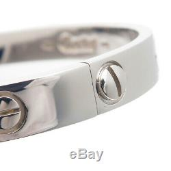 Authentic Cartier Love Bracelet Bangle K18WG Size #16 White Gold Used F/S