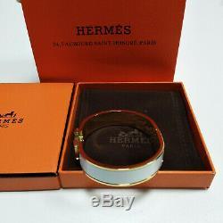 Authentic HERMES Enamel Bracelet 18K Gold Classic Clic Clac H Bangle White PM
