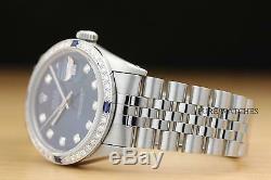 Authentic Mens Rolex Datejust Blue Diamond 18k White Gold & Steel Watch