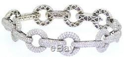 BA designer heavy 18K white gold elegant 20.65CT diamond cluster link bracelet