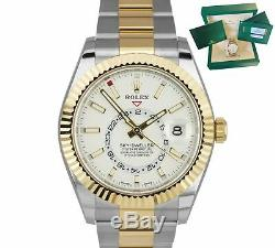 BRAND NEW Rolex Sky-Dweller 18K Two-Tone Gold Stainless White 42mm Watch 326933