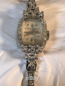 Baume Mercier 14 K White Gold Tennis Bracelet Diamond VTG Ladies Watch