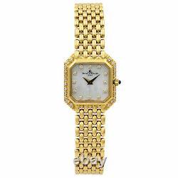 Baume et Mercier 18K Yellow Gold MOP Diamond Quartz Ladies Watch 18259