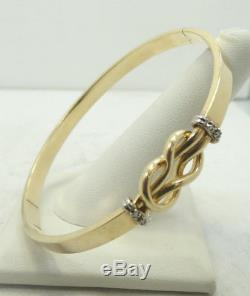 Beautiful 14K Y & White Gold Diamond Knot Tied Hinge Bangle Bracelet 7 7g D1317
