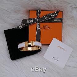 Bnib New Authentic Hermes CLIC H Enamel Bangle Bracelet White Blanc Yell Gold Gm