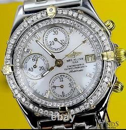 Breitling B13050 Chronograph Automatic Watch with Diamond Bezel & White Dial
