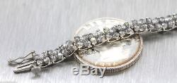 Brilliant Ladies 14K White Gold 4.56ctw Diamond Flower Tennis Bracelet