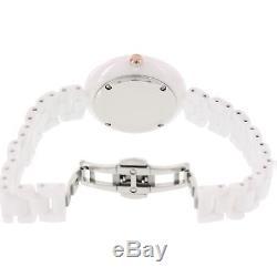 Bulova Women's 98L196 Quartz White Rose Gold Accents Ceramic Bracelet 38mm Watch