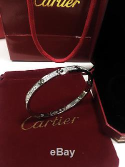 CLASSIC 18k White Gold Cartier Love Bracelet Diamond-Paved Size 17 original BOX