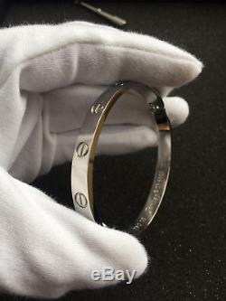 Cartier 18K White Gold LOVE Bangle Bracelet Size 17
