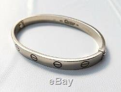 Cartier 750 18K White Gold Love Bangle Bracelet Size #16 With Driver Box Case