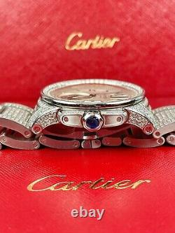 Cartier Calibre Men's Steel Watch 42mm Iced Out 13ct Genuine Diamonds Ref 3389