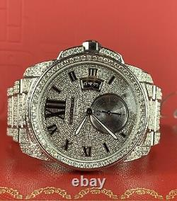 Cartier Calibre Men's Steel Watch 42mm Iced Out 20ct Genuine Diamonds Ref 3389